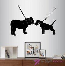 Wall Vinyl Decal English Bulldog Fox Terrier Dogs on Leash Pets Kids Decor 2088