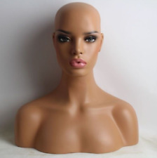 NEW Sand Color Female Fiberglass Mannequin Head Bust For Wig,Jewelry/Hat 05