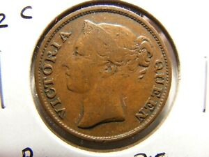 Straits Settlements 1845 1/2 Cent, KM#2,VF,  East India Company, Rotated Die