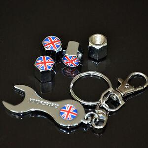 4x British Flag Union Jack Tire Wheel Stem Valves Stem Cap Cover Wrench