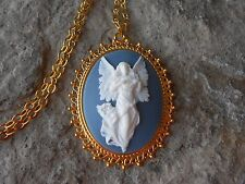 FLYING GUARDIAN ANGEL CAMEO GOLD TONE PENDANT NECKLACE - WHITE/BLUE - RELIGIOUS