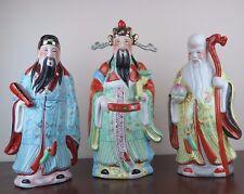 "3 Lucky Gods - Fu Lu Shou - 16"" tall Porcelain Chinese Figurine Statue - New"
