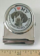 "I Love My German Shorthaired Pointer Metal Clip Fridge Magnet w 30 mm Emblem 2"""