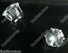 CLIP ON magnetic CUBIC ZIRCONIA 8mm CZ EARRINGS fake studs non-pierced stud