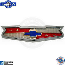 1956 & 1958 Chevrolet V8 Bowtie Hood Emblem Assembly Bezel & Insert Made in USA