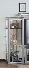 Concise Style Silver Finish Tempered Glass Entertament Center Cd Pier-Asdi