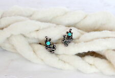 CLEARANCE Sterling Silver Screw On Earrings Art Nouveau Turquoise Peacock