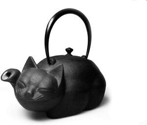Good Fortune Cat Iron Kettle Teapot Nanbu Tekki Tetsubin Japanese Cast NEW JAPAN