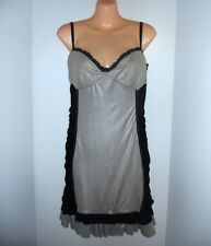 Pas Cucci Addie Black and Silver Club wear Short Dress 12 L