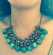 """Turquoise Real Large Nuggets Stone Chunky Coral Necklace 19.5"""" Sterling silver"""