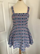 Henry Holland Blue Embroidered Cotton Sundress, Size 10-12!