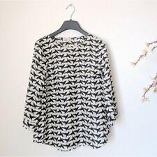 PIXLEY Shirt Humming Bird Print Black White 3/4 Sleeve Top SF70041 Womens Small