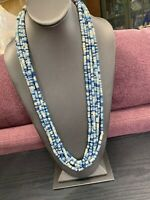 Vintage Bohemian Beaded multi Strand Shades Of Blue Beaded Necklace Hook Clasp
