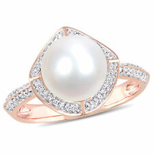 Amour 10k Rose Gold Freshwater Pearl and Diamond Halo Cocktail Statement Ring