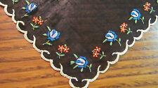 """Vintage Black Cotton Unused Swiss Embroidered Blue Red Flowers Hankie 10"""""""