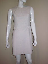 Philip Lim Linen Canvas Sleeveless Pin and Eyelet Ivory Shift Dress 4 New