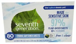 80 Pcs Seventh Generation Free and Clear Plant Based Fabric Softener Sheets