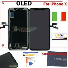 LCD DISPLAY PER APPLE IPHONE X TEN 10 SCHERMO VETRO FRAME TOUCH SCREEN NERO GLS