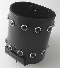 Motorcycle Handlebar Leather Chrome Ring Black Studded Cup Holder/Bottle Holder