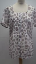Brand New Ivory and Grey Spotted  Long Cotton Blouse from Bonprix Collection siz