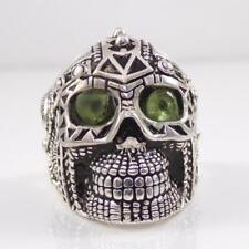 Sterling Silver Skull Heavy Biker Gothic Peridot 3D Ring Size 10.5 LDE3