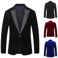 Men's Suit Coat Regular Serge Blazer Button Business Casual Jacket Autumn UK