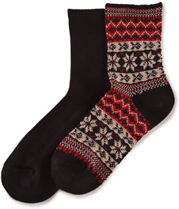 Hue Women's Wintersoft Boot Socks Color Black/Red One Size USA 2-PAIR