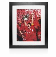 Framed Steven Gerrard Signed Liverpool Photo - Champions League Final