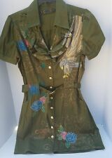 COOGI Dress Shirt Army Green Gold Eagle Buttons Flower Floral Studs Rhinestone M