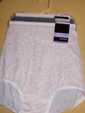 3 Bali Brief Set Skimp Skamp Panty Nylon 2633 Center Back Seam 6 M Pink Gray NWT