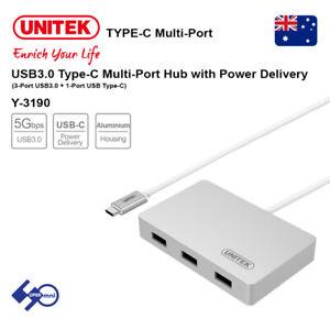 UNITEK USB3.0 Type-C 3-Port Aluminium Hub with USB Power Delivery / Y-3190