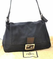 Authentic FENDI Mamma Baguette Shoulder Hand Bag Canvas Leather Black C2862