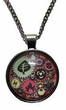 Domed Metal Pendant Necklace Pokemon Energy Symbols Glass