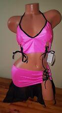 Exotic Dancer Stripper Sexy Dancewear hot pink and black asymmetrical skirt set