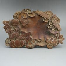 China,wood,collectibles,handicraft,wood carving,butterfly,ink stone B189*