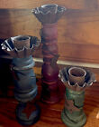 PRIMITIVE COUNTRY WOOD CANDLE HOLDERS Home Decor