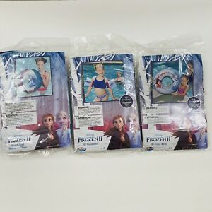Frozen 2 Elsa Anna Swim Set Inflatable Beach Ball Arms Float Swim Ring Lot of 3