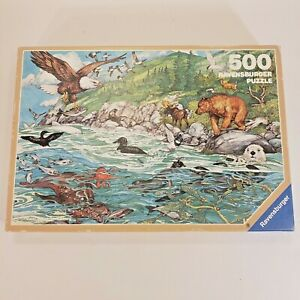 "Ravensburger 500 piece puzzle ""Pacific Shoreline"" nature bear vtg 1990 Complete"