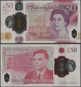 Great Britain/England B206 50 Pounds 2021 Polymer/Alan Turing /QEII AA Prefix