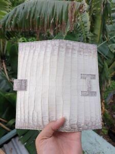 white 100 % Genuine Crocodile Alligator Skin Leather long Wallet