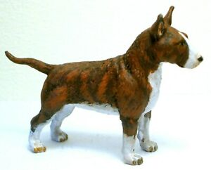 PEWTER HAND MADE  PAINTED  MINIATURE FIGURINE OF  BULL TERRIER  DOG  STATUETTE