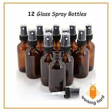 AMBER GLASS BOTTLE SPRAY 1 Oz Fine Mist Sprayer Bottles Essential Oil PACK OF 12