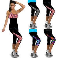 Womens Sports Yoga Gym Fitness Pants High Waist Stretch Skinny Cropped Leggings