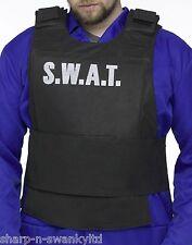 Adult Men's Black SWAT Police Vest Fancy Dress Party Costume Outfit