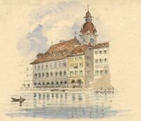 Ellis, Lucerne Town Hall – Original mid-19th-century watercolour painting
