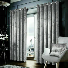 Silver Grey Heavy Crushed Velvet Ready Made Fully Lined Eyelet/Ring Top Curtains
