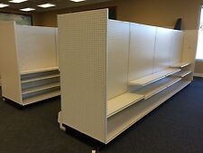 Used Lozier Store Shelving, Gondola, 4 foot sections, double sided or wall unit