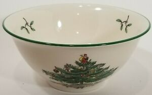 Spode Christmas Tree Green Trim Cranberry/Rice Cereal Bowl 5 3/8""