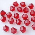50pcs 6mm Bicone Faceted Crystal Glass Findings Loose Spacer Beads Charms Red