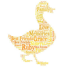 Personalised Duck Word Art Print Great Gift, Son Daughter Baby Birthday Friend